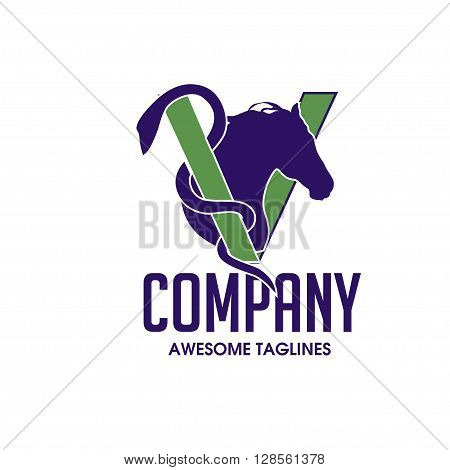 Horse Head Design with letter V Vector Image