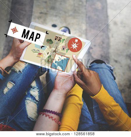 Map Navigation Position Transport GPS Route Concept
