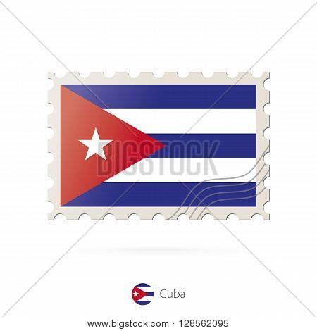Postage Stamp With The Image Of Cuba Flag.