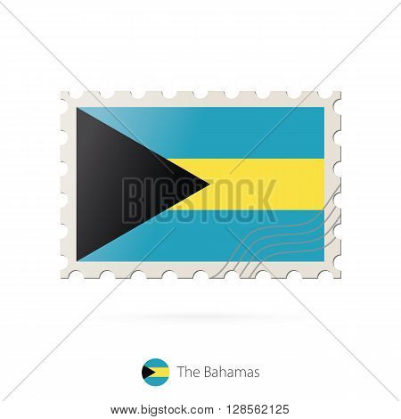 Postage Stamp With The Image Of The Bahamas Flag.