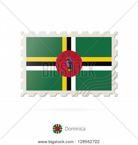 Postage Stamp With The Image Of Dominica Flag.