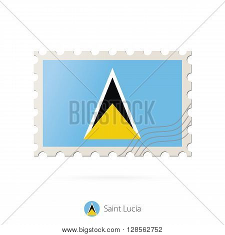 Postage Stamp With The Image Of Saint Lucia Flag.