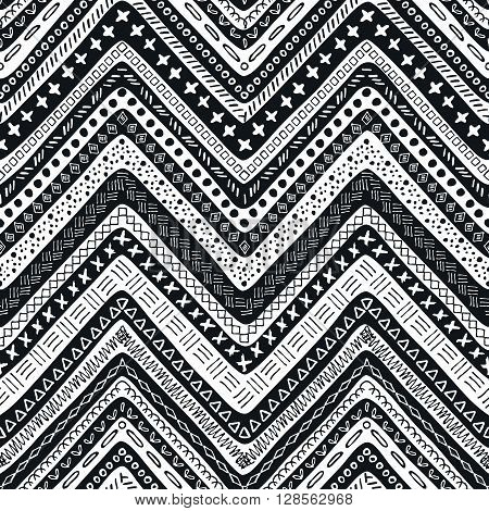 Vector tribal aztec hand drawn seamless pattern. Ethnic tribal borders. Tribal elements isolated. Boho folk navajo frames. Tribal design