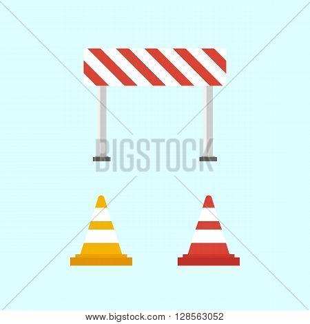 Warning signs. Traffic cone. Flat design illustrations - stock vector