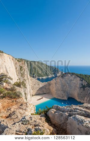 Idyllic view of beautiful Navagio shipwreck  Beach on Zakynthos Island in Greece