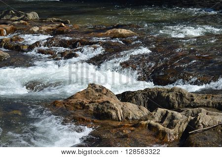 River Water Flowing Over Rocks with Rapids