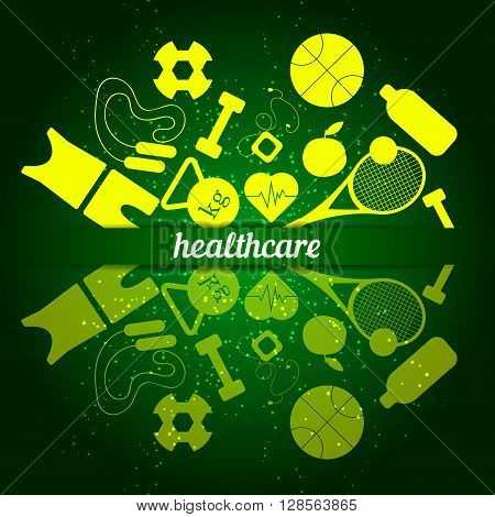 Sports equipment for entertainment in the summer. Sunny bright and active sports in hot weather. Healthcare and sport. Vector illustration.