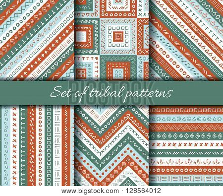 Set of vector tribal aztec seamless pattern. Ethnic tribal borders. Tribal elements isolated. Boho folk navajo frames. Tribal design