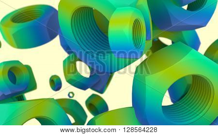 Nuts levitation industry background. Service and repair relative image. Gradient painting. 3D rendering