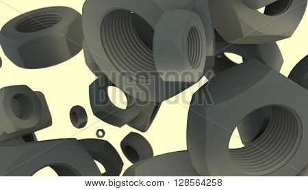 Grey nuts levitation industry background. Service and repair relative image. 3D rendering