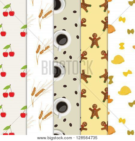 Vector illustration five seamless food pattern. Collection of seamless backgrounds with cherry coffee cookies and pasta