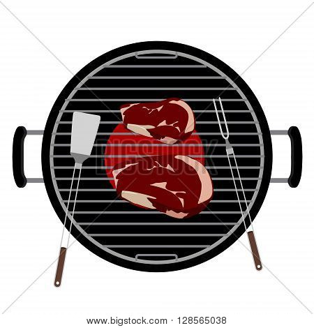 Vector illustration charcoal barbecue grill top view. Grilled beef steak meat and barbecue tools turner and fork grilling utensils