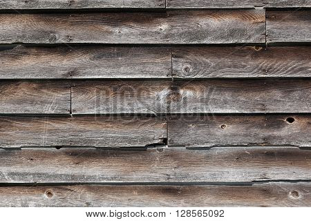 Old rustic wood siding on an old building background