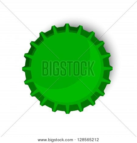 Vector illustration green bottle cap. Beer bottle cap top view