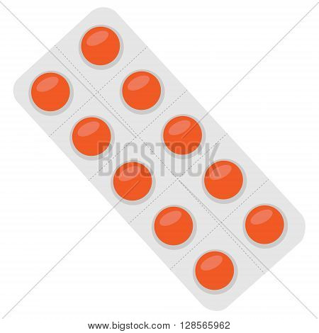 Vector illustration orange pills blister. Tablet strip icon. Round pills in a blister pack