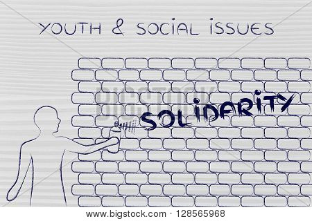 Man Writing Solidarity As Wall Graffiti, Youth & Social Issues