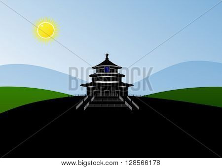 Buddhist temple. A silhouette the Buddhist temple, against the Blue, Green Mountains and the sun against the blue sky