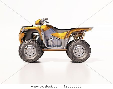 3d render: ATV quad bike, studio shooting, soft lighting