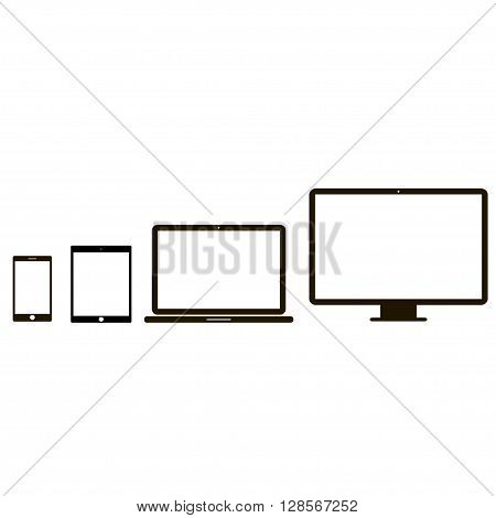 Electronic device icons. 4 device icons in white background