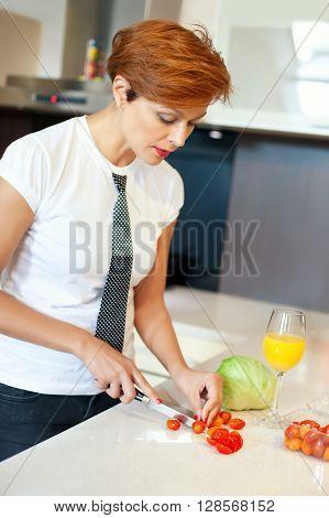Preparing food. Woman preparing some heathy food