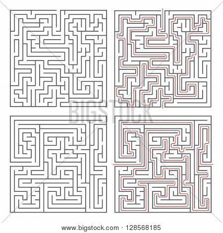 Two different mazes of medium complexity on white and solution with red paths
