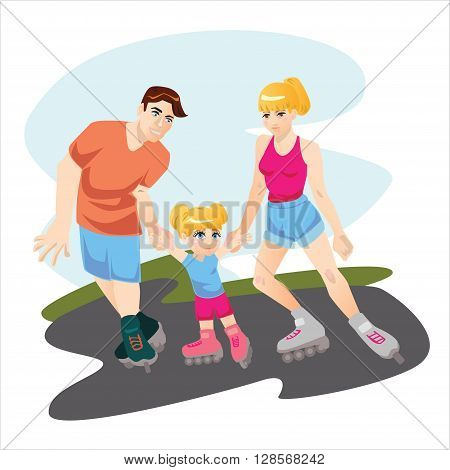 Vector illustration with family with one child skating on roller skates