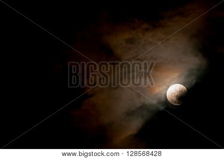 Full Moon Shining In The Darkness Sky Lunar Eclipse