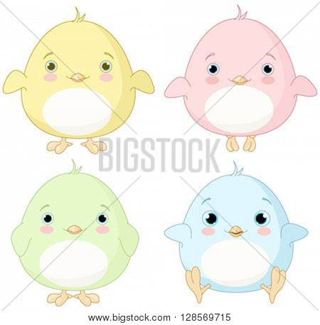 Illustration of very cute chick set