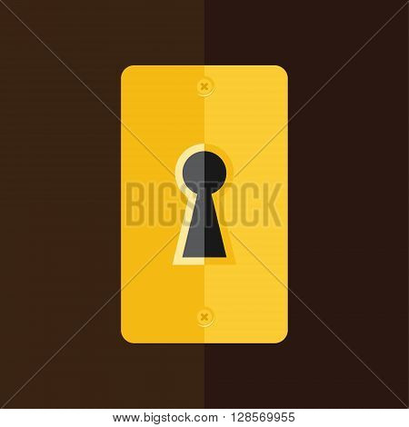 Vector illustration golden keyhole in wooden door. Key hole icon