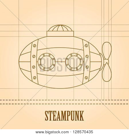Steampunk vector background. Submarine. Vintage template design for banners, cards, invitations.