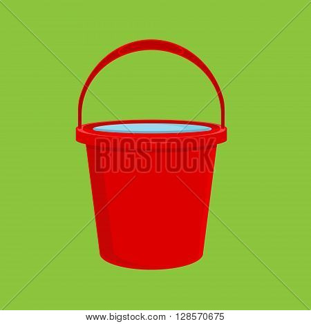 Vector illustration full of water red bucket icon sign or symbols for app. Bucket for garden on green background