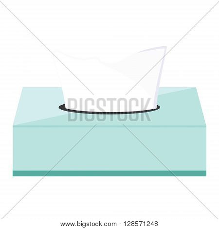 Vector illustration blue tissue box with tissue paper