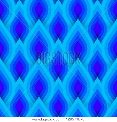 Vector geometric pattern with abstract leaf ornament in blue multiple colors. Bold geometry print in art deco style with drops. Seamless background with ethnic, Arabic, Indian, Turkish, ottoman motifs
