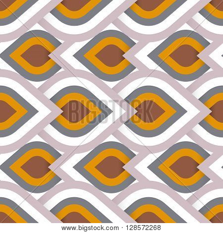 Vector geometric pattern with abstract leaf ornament in natural colors. Bold geometry print in art deco style with drops. Seamless background with ethnic, Arabic, Indian, Turkish, ottoman motifs