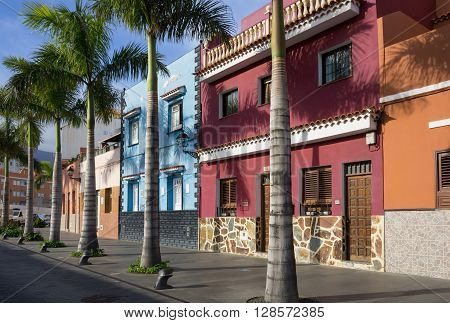 PUERTO DE LA CRUZ, TENERIFE, CANARY ISLANDS - JANUARY 11, 2014: Beautiful colorful buildings in the old town of Puerto De La Cruz one of the most popular touristic towns on Tenerife Canary islands Spain