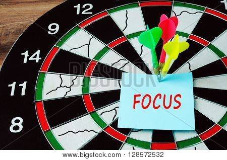 Darts And Bull Eyes With Word Focus On Paper