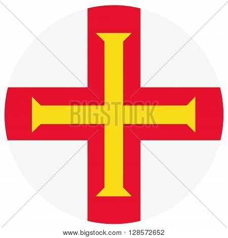 Vector illustration Guernsey flag vector icon. Round national flag of Guernsey. Guernsey flag button