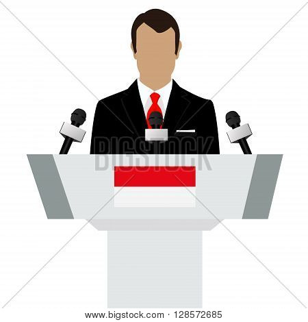 Vector illustration presentation conference concept. Speaker man in suit speaking from tribune. Indonesia Indonesian flag on podium tribune