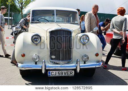 CLUJ-NAPOCA ROMANIA - APRIL 16 2016: Austin Vanden Plas Princess classic car on display at the 2016 Retro Spring Parade.