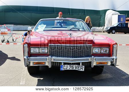 CLUJ-NAPOCA ROMANIA - APRIL 16 2016: Cadillac Eldorado convertible 1976 on display at the 2016 Retro Spring Parade.