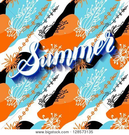 It is summer time abstract lettering background. Vector illustration. Summer on seamless floral pattern.