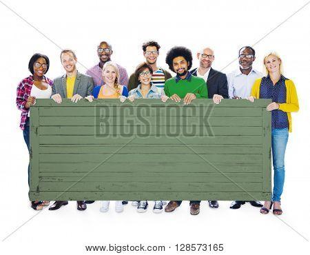 Students Team Teamwork Holding Blackboard Concept