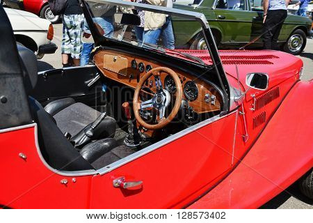 CLUJ-NAPOCA ROMANIA - APRIL 16 2016: 1973 interior of Spartan Roadster (Triumph derived) on display at the 2016 Retro Spring Parade.