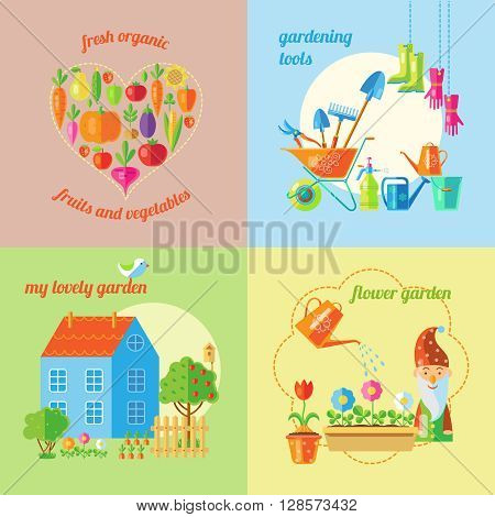 Four square garden icon set with headlines fresh organic gardening tools my lovely garden and flower garden vector illustration
