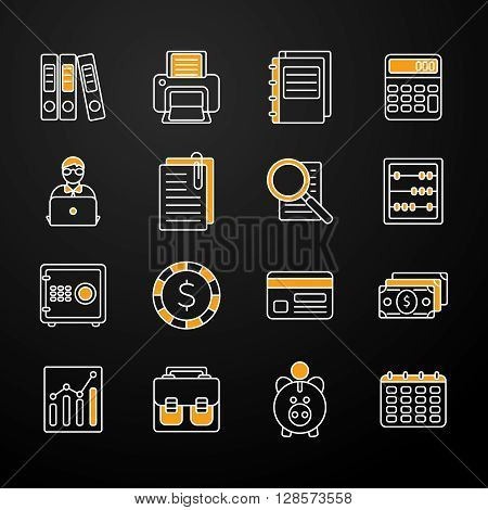 Flat set with accauntant and bookkeeping icons with orange stylish elements on the black background vector illustration