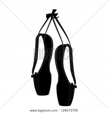 Vector illustration hanging black ballet pointe. Pointes shoes.