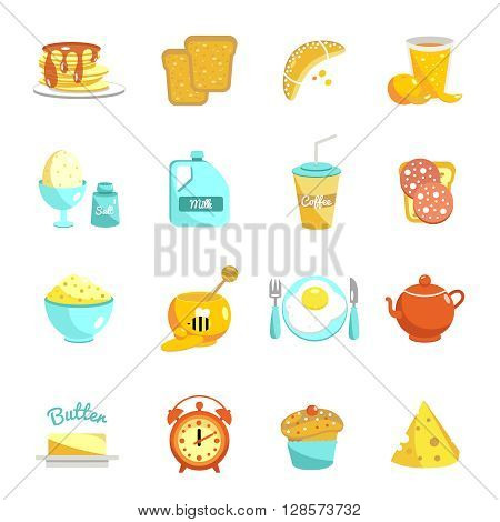 Breakfast flat icon set with description of food and drinks for a hearty breakfast snack or lunch vector illustration