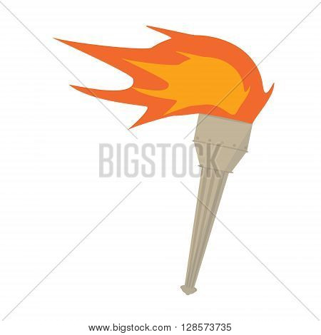 Vector torch icon. Hot flame power flaming heat and liberty victory success glow triumph illustration