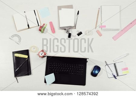 Workplace. Office table from top view
