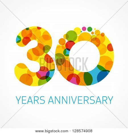 30 years anniversary circle colored logo. Template logo 30th anniversary with a circle in the form of a color bubble